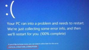 Critical Structure Corruption BSOD