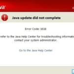 Java Error Code 1618 - Java Script Update Error