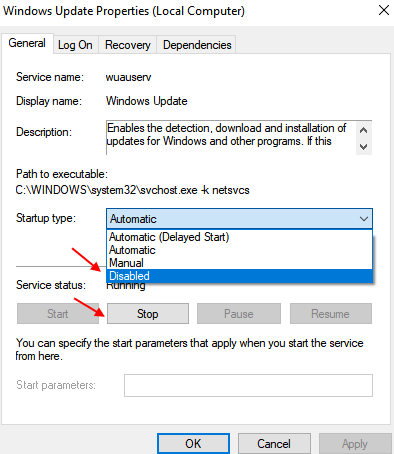 change startup options to disabled
