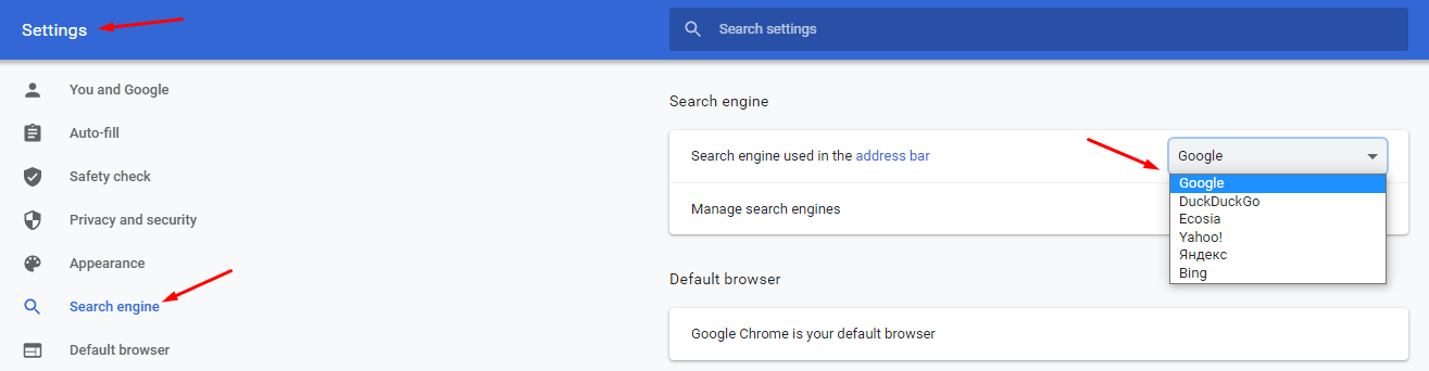 default search engine